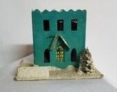 Putz House, Mica House, Castle, snowy Christmas Ornament,  Christmas Decoration,  1950s Christmas Ornament, Light Cover, Christmas, tree