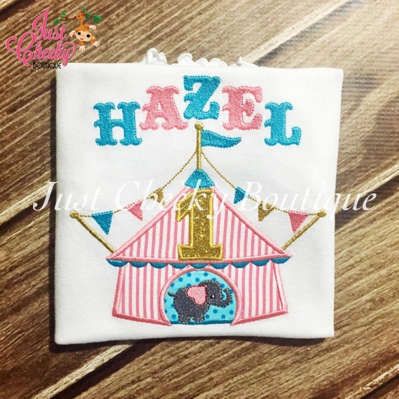 Circus Tent embroidered shirt - Circus Birthday Shirt - Circus Elephant Birthday Shirt - Ringleader