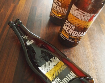 Recycled slumped beer bottle, Mill Street Brewery's 100th Meridian  with 2 wine cork cheese spreaders