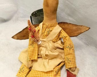 Primitive Angel Doll, Barefoot Angel Doll, Winged Angel Doll, Christmas Decoration, Wall Hanging Angel, Folk Art Angel, Primitive Home Decor