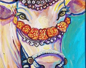 Mother of the Wolrd original acrylic painting on canvas holy cow bull calf cattle india hindu