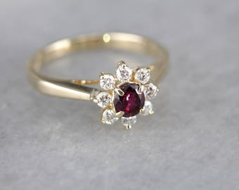 Ruby and Diamond Floral Halo Ring, Vintage Engagement Ring CNXFQH-N