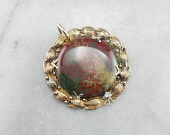 Stunning Bloodstone Pendant, Bloodstone and Diamond, Laurel Wreath Pendant Q7F48EAD-R