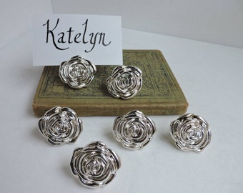 silver rose place card holders set of 6 or 12 dining table decor wedding