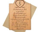 Personalized 5th Anniversary Card with Engraved Vows for Him, for Her.  Wedding Vows Wood. Wood Anniversary Gift for Him.