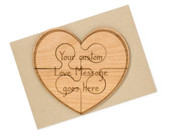 Anniversary Gift for Him. Heart Shaped Puzzle 5 Year Anniversary Card Wood.