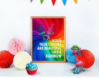 "TROLLS Colors Beautiful Rainbow 8x10"" Printable Children Home Decor Wall Art Print Poppy Branch Movie Birthday Party Instant Download"
