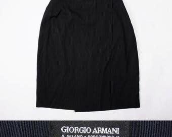 GIORGIO ARMANI Black Pinstriped Pencil Wrap Skirt