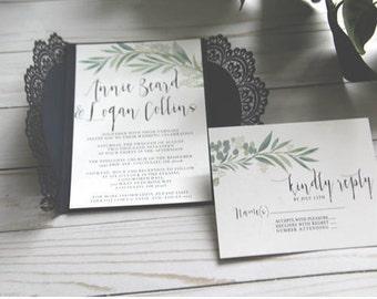 Greenery Invitations with Navy Gatefold, Navy and Green Invitation, Modern Invitation, DIY Wedding, Custom Invitation, Simple Invitation