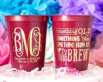 Personalized Cups, Wedding Favor Cups, Wedding Cups, Monogram Wedding Cups, Custom Plastic Cups, Custom Cups, Stadium Cups, Party Cups