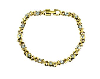 Gold and Rhinestone Bracelet, Gold Chain Bracelet with Rhinestones, Gold Link Bracelet
