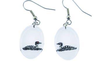 Vintage Loon Earrings, Reverse Carved Lucite Earrings, Black and White Bird Earrings