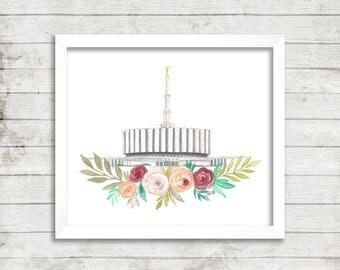 Provo, Utah LDS Temple Watercolor Print