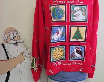 Vintage Tacky Ugly Christmas Sweater Party Sweatshirt, Christmas Sweatshirt Peace Love Joy, Funky Sweatshirt, Sz XL Unisex, Iconic Christmas