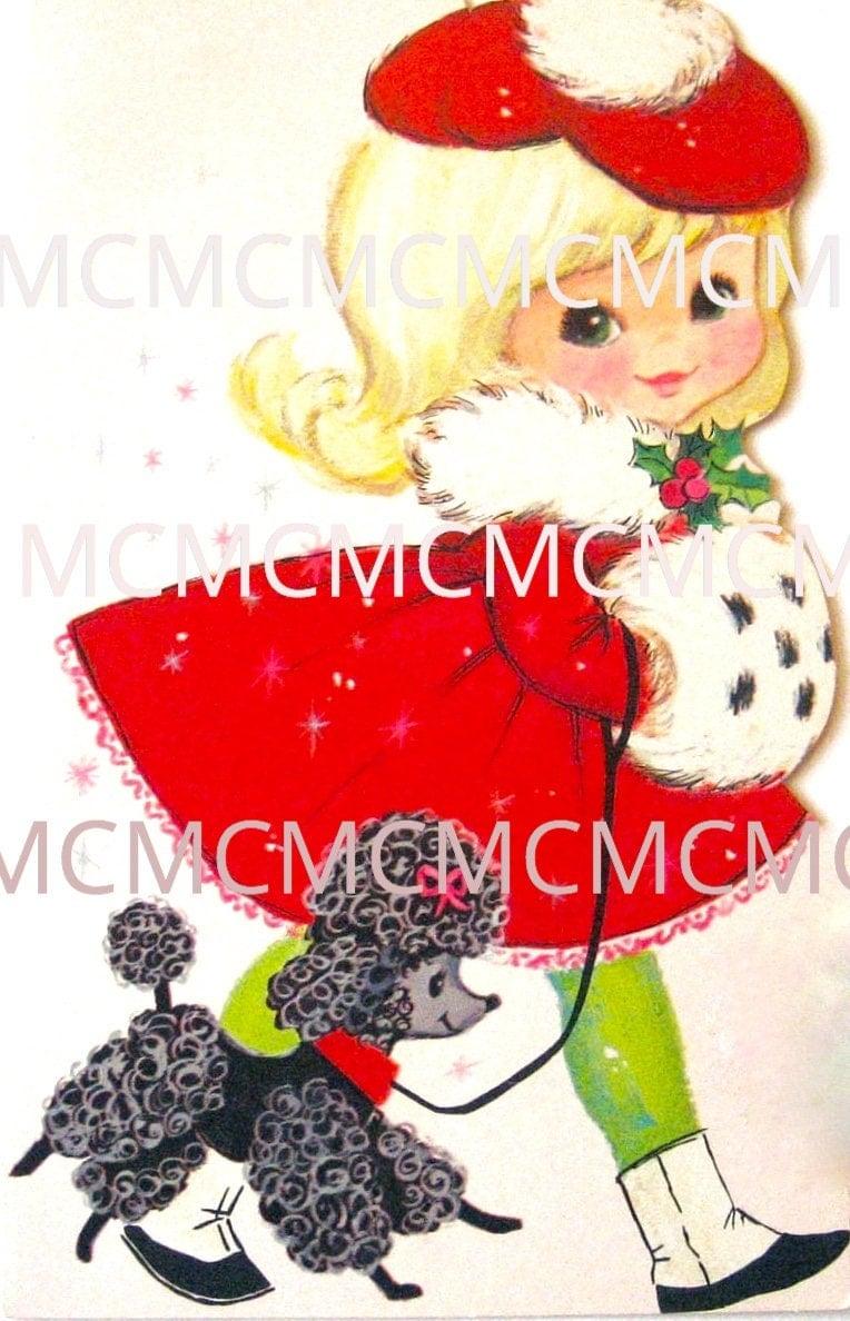Vintage Digital Image Download Vintage Christmas Greeting Card Girl