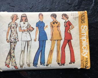 Vintage 1970s Tunic with Three Fronts and Pants Pattern // Simplicity 5136 > Size 10 > wide leg pants with cuffs > 1972