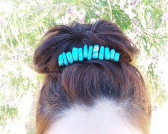 Turquois Wire Wrapped Hair Comb