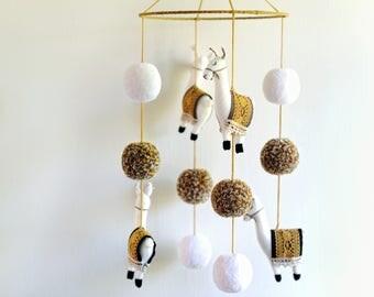 Handmade 'Llama Nursery Mobile', Llama Mobile, Boho Baby Nursery Mobile, Llama Nursery Decor, Llama Nursery - MADE TO ORDER