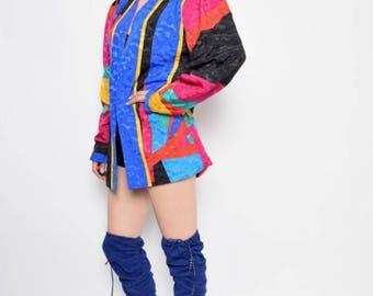 Vintage 90's Color Blocking Satin Blazer / Multi Color Jacket / Colorful Jacket Jacket - Size Large