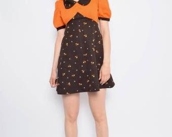 Vintage 70's Color Block Mini Dress / Micro Floral Print Dress / Orange Flared Dress - Size Small