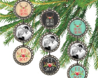 Our first Christmas ornament, photo ornament, custom initials, first Christmas married, personalized wedding gift for newlyweds.
