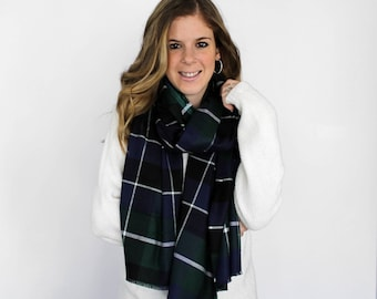 Blanket Scarves Plaid Flannel Fringe Scarf