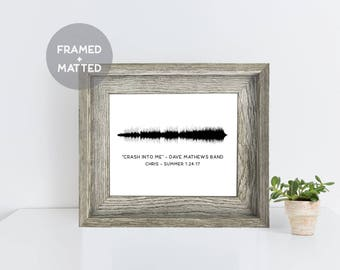 Custom Framed Sound Wave Art, First Anniversary Paper Gift, Christmas Gift, Song Lyric Print, Wedding Song Art, Gift for Friend