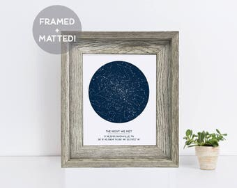 Custom Framed Star Map, Distressed Grey Wood Frame, Engagement Gift, New Baby Gift, Wedding Gift, Night Sky Print, Constellation Art