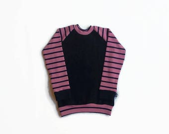 Cardigan women sweater collar round long sleeve black cotton, black striped pink / Women's black old pink stripes, crewneck sweatshirt