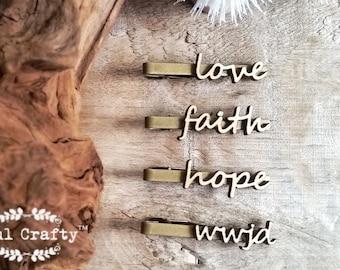 love faith hope wwjd Wooden Tie Clips Christian What Would Jesus Do Dad Grooms Bestman Groomsman Wedding Birthday Gift Tie Bar