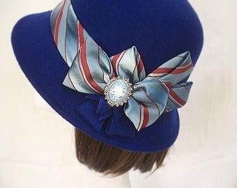 Blue hat 1920s Hat, Navy hat, Vintage hat, Victorian accessory, Cloche Hat, bowler hat