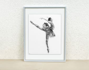 Ballerina painting. Ballerina silhouette. Black and white ballerina sketch. Minimalistic sketch Ink drawing Sketch of a dancer Original 8x10