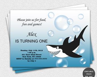 Shark Birthday Party Invitation / Shark Invitation / Shark Invite / Instant Download / Editable Files (7)
