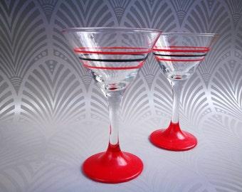 Vintage martini glazen, Mid Century Modern glaswerk, Vintage bar Vintage barware Mad Men retro cocktail glazen, halverwege de eeuw bar rood zwart
