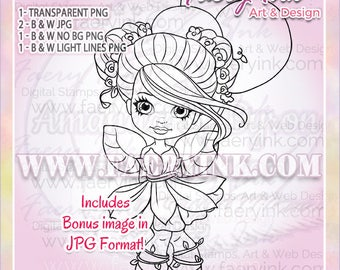 Birthday Fae Fairy Faery Cutie UNCOLORED Digital Stamp Coloring Page Craft Cardmaking Papercrafting DIY