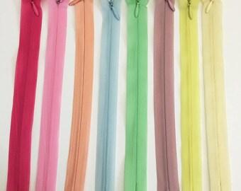 Set of 8 20 assorted colors - set of 6 cm invisible zipper closures