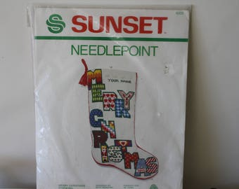 Vintage 1982 SunSet Needlepoint 6005 Merry Christmas Stocking Never Been Opened