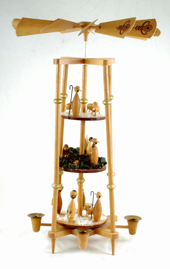 Vintage German Christmas Nativity Pyramid Carrousel - 3 Tier