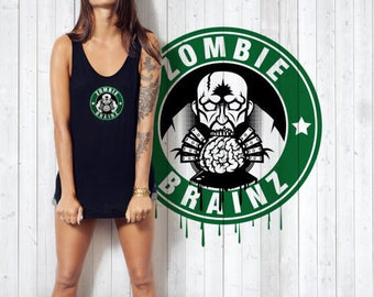 Large: Ladies Vest Zombie Brainz Black Size, Zombies &Coffee Lover, Walking Dead