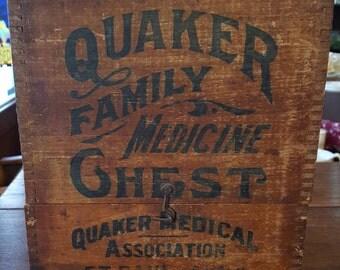 Quaker Family Medicine Chest with contents circa 1890's