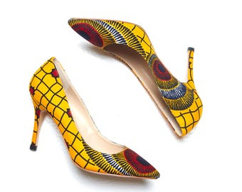 African shoes, African print shoes, Ankara print shoes, ankara shoes, african heels, african print high heel, ankara pumps, african pumps