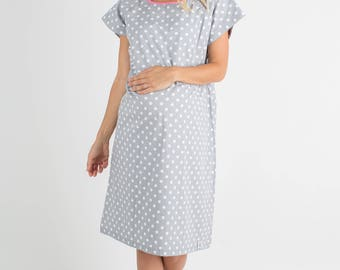 Lisa Grey Dotted Labor Delivery Maternity Hospital Gown Baby Be Mine Gownie, Monogram, Hospital Bag Must Have, Baby Shower Gift,New Mom
