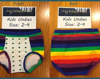 Kids/toddler undies - size 2-4 - kids underwear - girls underwear - panties - briefs - cotton/spandex - upcycled fabric - rainbow and apples