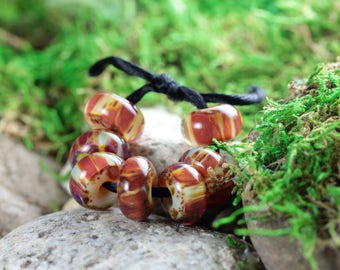 7 Loose Lampwork Rondelle Beads (Borosilicate / Boro Glass) - Caramel Toffee Crunch Here I Come - Amber, Yellow, Brown