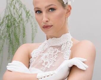 Flower Headband, White and Gold Wedding Headpiece, Brides Headdress Fascinate - Hoshiko