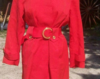 Vintage 1960s Mod Red Pea Trench coat. size small.