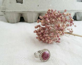 Vintage button ring enamelled
