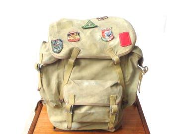 Vintage rucksack Olive Drab 1950s British BB Ranger High Pack canvas hiking back pack external frame large messenger bag vintage badges (X)