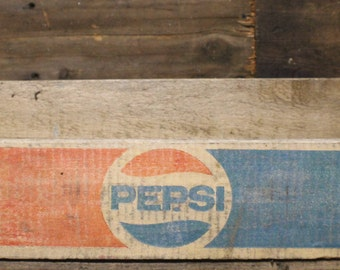 Vintage Pepsi Cola Wood Crate, Red and Blue 1/2 Liter Pepsi Crate