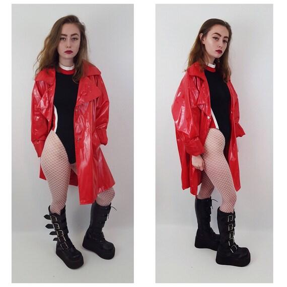 90's Women's Vintage Red Vinyl Rain Coat - Large Rain Slicker Shiny Patent Leather Button Up Front Rain Coat - Vtg Women's Rain Jacket